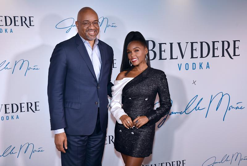 "NEW YORK, NEW YORK - JUNE 24: President & Chief Executive Officer at Belvedere Vodka Rodney Williams and Janelle Monae pose for a photo together as Belvedere Vodka x Janelle Monae Celebrate the Launch Of ""A Beautiful Future"" Limited Edition Bottle at The Tisch Skylights at The Shed on June 24, 2019 in New York City. (Photo by Bryan Bedder/Getty Images for Belvedere Vodka)"