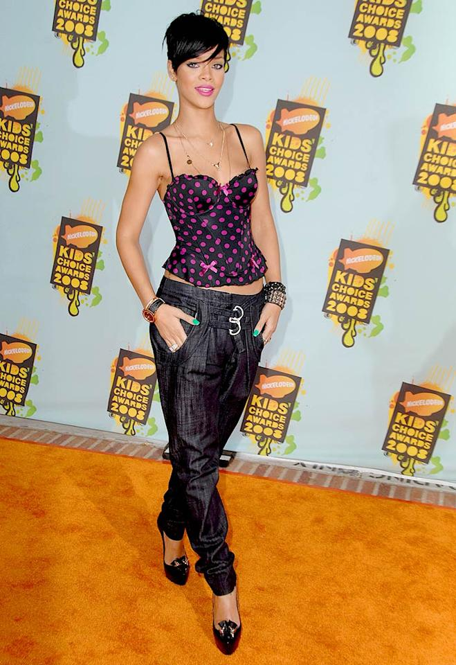 """Rihanna's definitely fashion forward, but her corset would've looked better with a slim black pant. Steve Granitz/<a href=""""http://www.wireimage.com"""" target=""""new"""">WireImage.com</a> - March 29, 2008"""