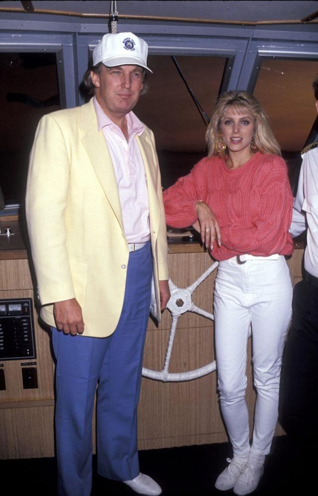 Trump in yacht attire with ex-wife Marla Maples (Photo: WireImage)