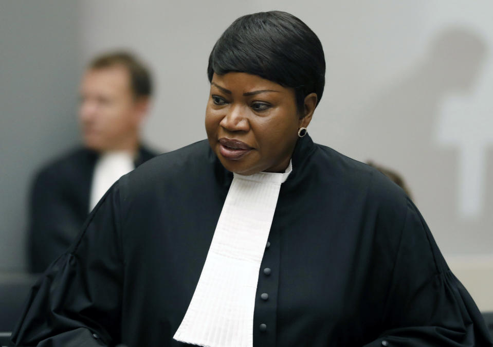 "FILE - In this Tuesday Aug. 28, 2018 file photo, Prosecutor Fatou Bensouda at the International Criminal Court (ICC) in The Hague, Netherlands. The Prosecutor of the International Criminal Court said Wednesday, March 3, 2021 that she has launched an investigation into alleged crimes in the Palestinian territories. Fatou Bensouda said in a statement the probe will be conducted ""independently, impartially and objectively, without fear or favor."" (Bas Czerwinski/Pool file via AP, File)"