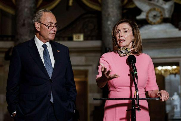 PHOTO: Speaker of the House Nancy Pelosi akes a statement to reporters alongside Senate Minority Leader Chuck Schumer following continued negotiations over a coronavirus stimulus package in the U.S. Capitol in Washington, Aug. 7, 2020. (Samuel Corum/EPA via Shutterstock, FILE)