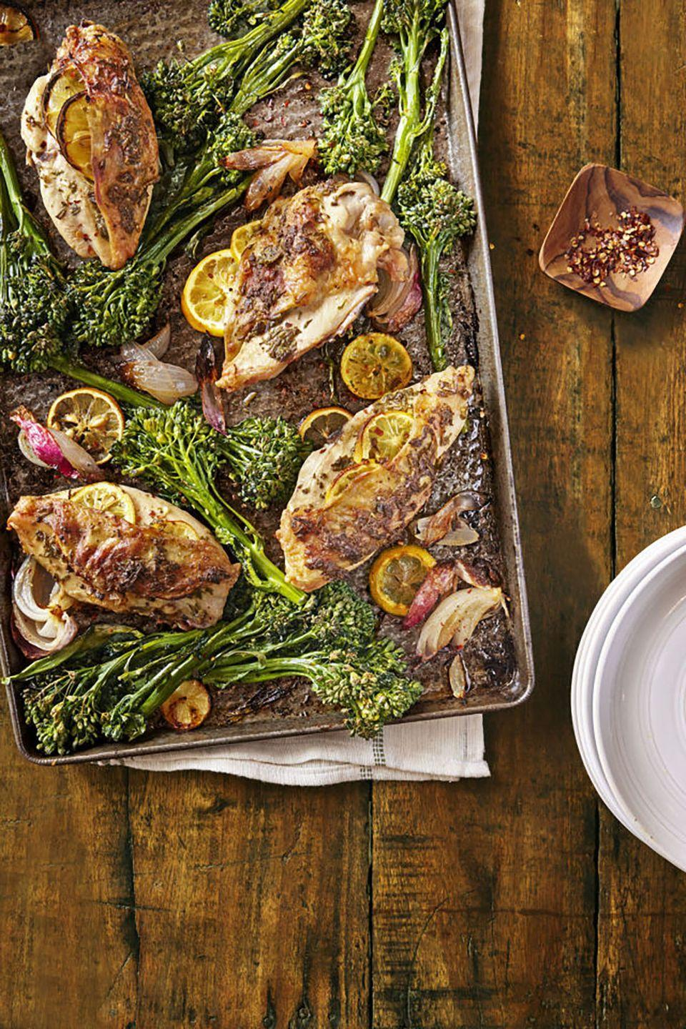 "<p>Vitamin-packed Broccolini is an ingenious hybrid between broccoli and Chinese broccoli. Roasting the chicken with lemon slices and a rosemary mixture inside makes this entree burst with flavor.</p><p><strong><a href=""https://www.countryliving.com/food-drinks/recipes/a39830/lemon-rosemary-chicken-with-roasted-broccolini-recipe/"" rel=""nofollow noopener"" target=""_blank"" data-ylk=""slk:Get the recipe"" class=""link rapid-noclick-resp"">Get the recipe</a>.</strong></p>"