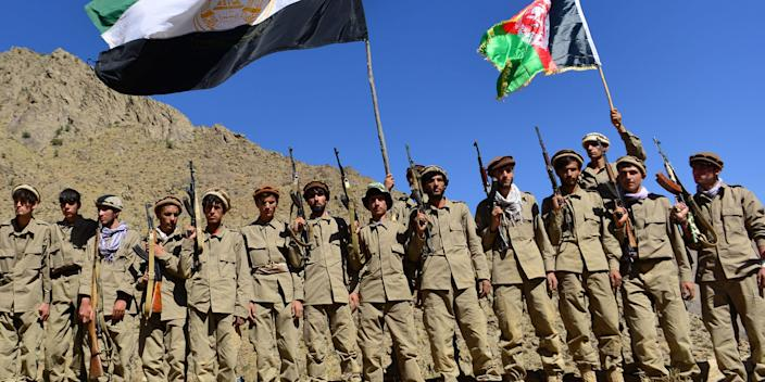Afghan resistance movement and anti-Taliban uprising forces take part in a military training at Malimah area of Dara district in Panjshir province on September 2, 2021 as the valley remains the last major holdout of anti-Taliban forces