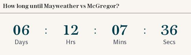 McGregor Mayweather countdown (set for 4am BST start)