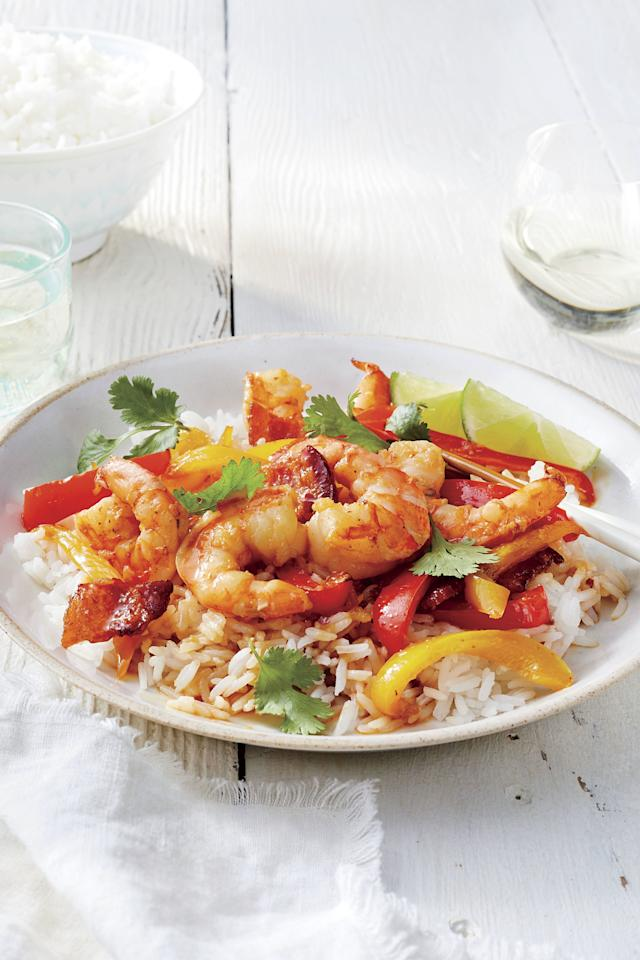 """<p><b>Recipe: <a href=""""https://www.southernliving.com/recipes/shrimp-stir-fry-bacon"""">Shrimp Stir Fry with Bacon</a></b></p> <p>Shrimp and bacon make a surprisingly beautiful pair. This stir fry is so quick to whip up, it'll be your new weeknight go-to.</p>"""