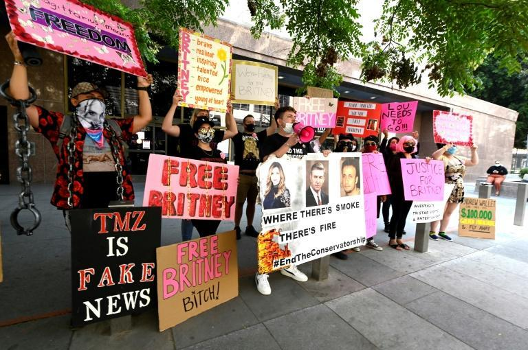Supporters of Britney Spears hold a #FreeBritney protest outside a Los Angeles Courthouse in September 2020