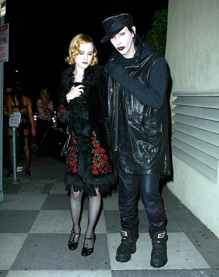 "Tongues wagged when Marilyn Manson began dating actress Evan Rachel Wood, who is 18 years his junior. The rocker's relationship with the ingenue was rumored to be the cause of his divorce from burlesque artist Dita Von Teese. <a href=""http://www.x17online.com"" target=""new"">X17 Online</a> - October 27, 2007"