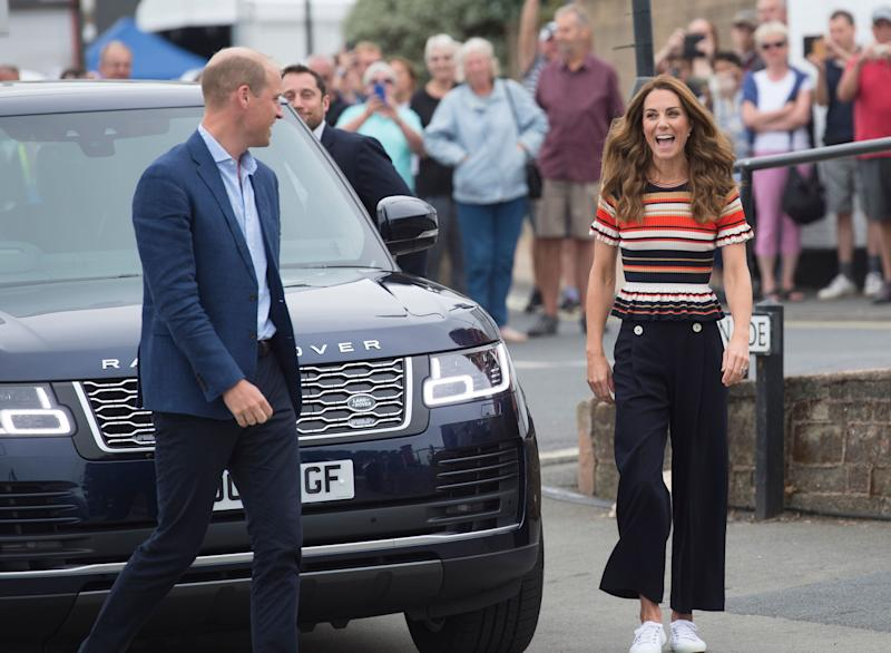 The Duke and Duchess of Cambridge arrive at the Royal Yacht Squadron during the inaugural King's Cup regatta on Aug. 8 in Cowes, England. (Photo: Antony Jones via Getty Images)