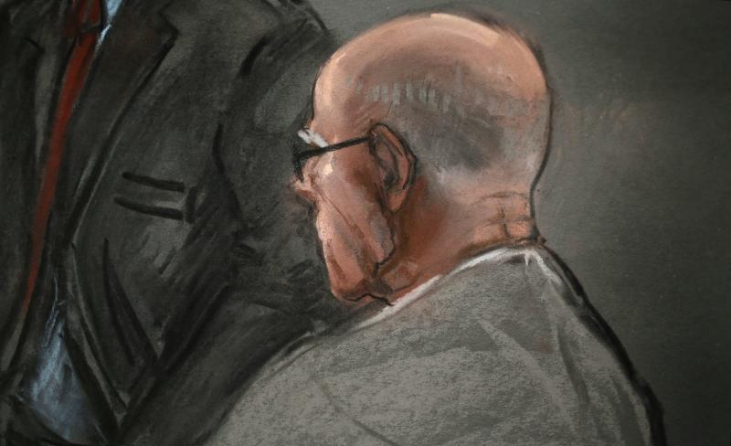 "In this courtroom sketch, James ""Whitey"" Bulger listens to defense attorney, Hank Brennan, during closing arguments at U.S. District Court, in Boston, Monday, Aug. 5, 2013. Bulger's lawyers used their closing arguments to go after three gangsters who took the stand against the reputed Boston crime boss, portraying them as pathological liars whose testimony was bought and paid for by prosecutors. (AP Photo/Jane Flavell Collins)"