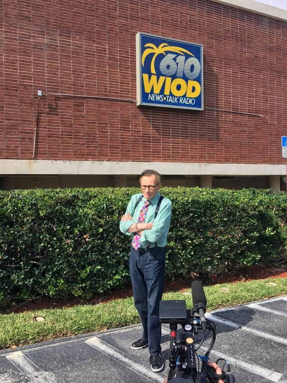Larry King revisited the site of one of his first jobs in radio, the old WIOD studios in North Bay Village, in April 2017.