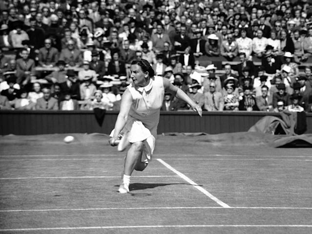 British tennis player Mrs. Dorothy Round Little in play against Mrs. Fabian of the U.S.A, unseen at Wimbledon, London on July 3, 1939. (AP Photo/Staff/Putnam)
