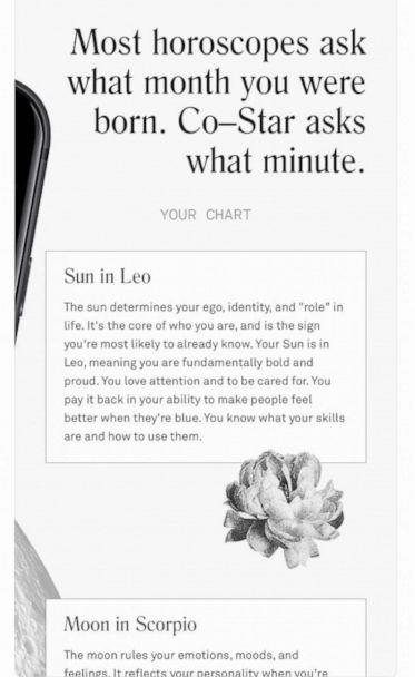 PHOTO: Co-Star utilizes both artificial intelligence and NASA data to generate birth charts and personal horoscopes. (Co-Star )
