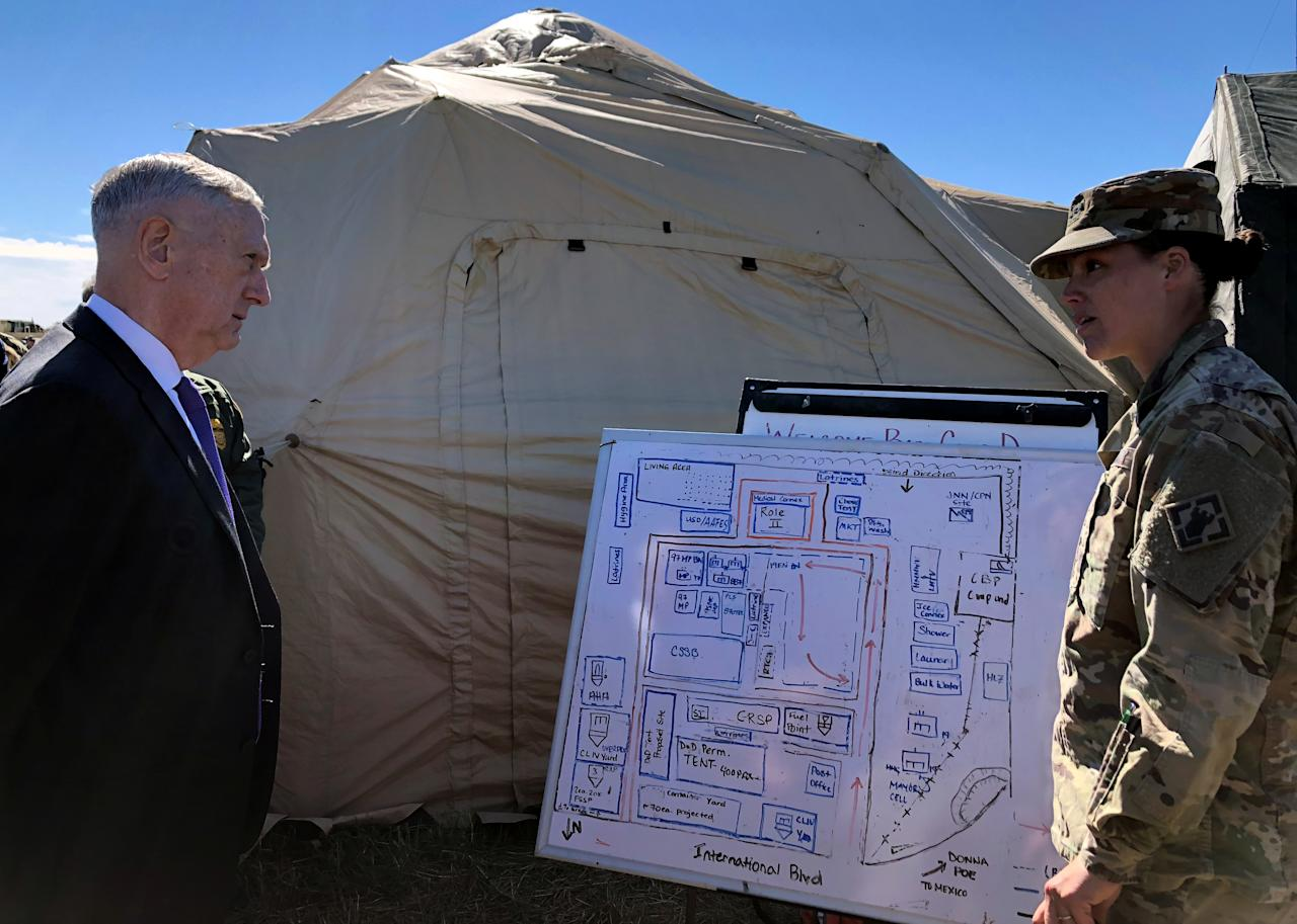<p>U.S. Defense Secretary Jim Mattis is briefed on the U.S. military's border deployment at Base Camp Donna in Donna, Texas, Nov. 14, 2018. (Photo: Phil Stewart/Reuters) </p>