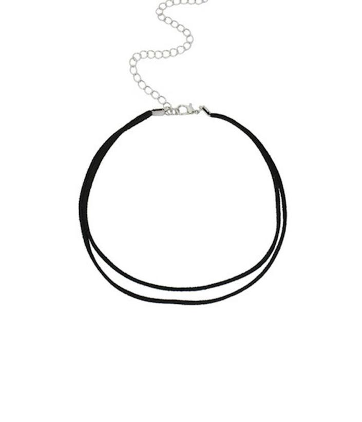 black choker with silver chain