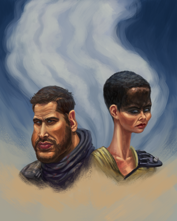 Finally, what Max Rockastansky and Imperator Furiosa might look like if they saw their reflections in a funhouse mirror, by drbjrart.