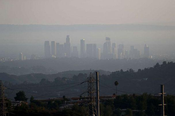 PHOTO: The downtown skyline is pictured amidst the smoke from the Bobcat fire in Los Angeles, Sept. 23, 2020. (Mario Anzuoni/Reuters)