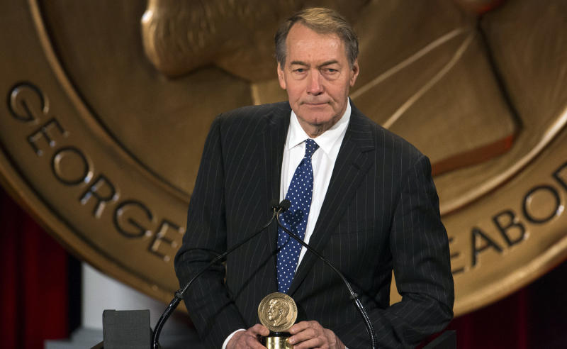 Charlie Rose speaks after winning a Peabody Award in 2014.In a Washington Post report published Monday, eight women accuse the journalist of sexual misconduct.