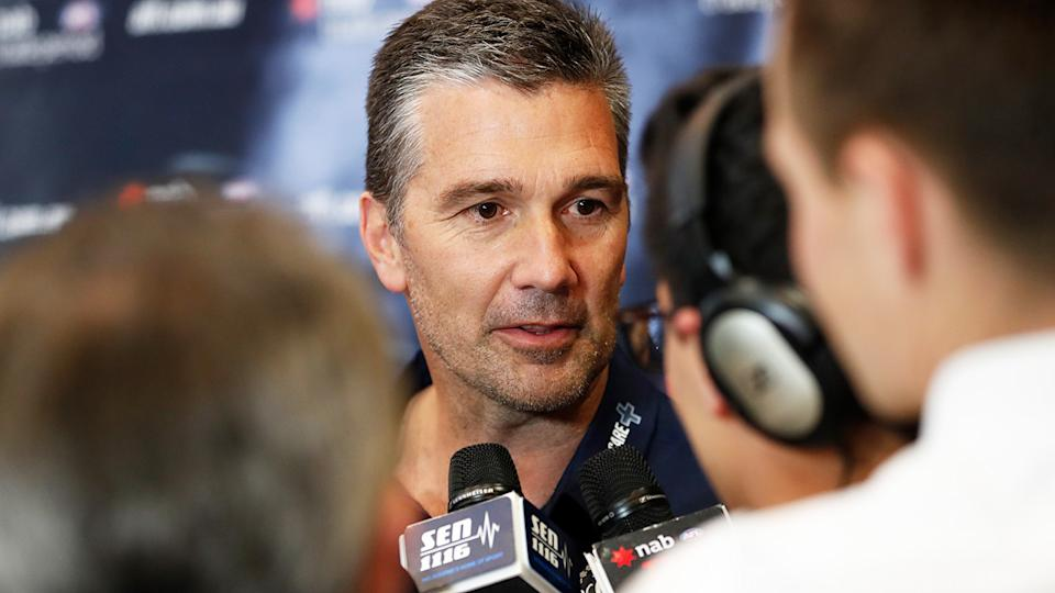 Former Carlton list manager Stephen Silvagni is pictured during a press conference.
