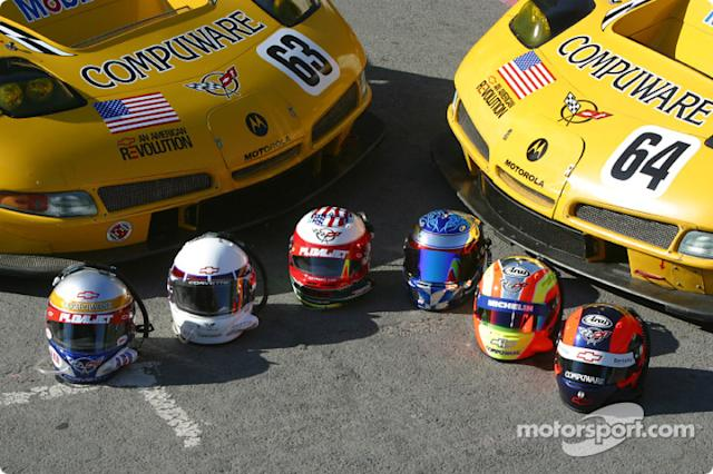 "2004: Corvette Racing drivers helmets <span class=""copyright"">Eric Gilbert</span>"