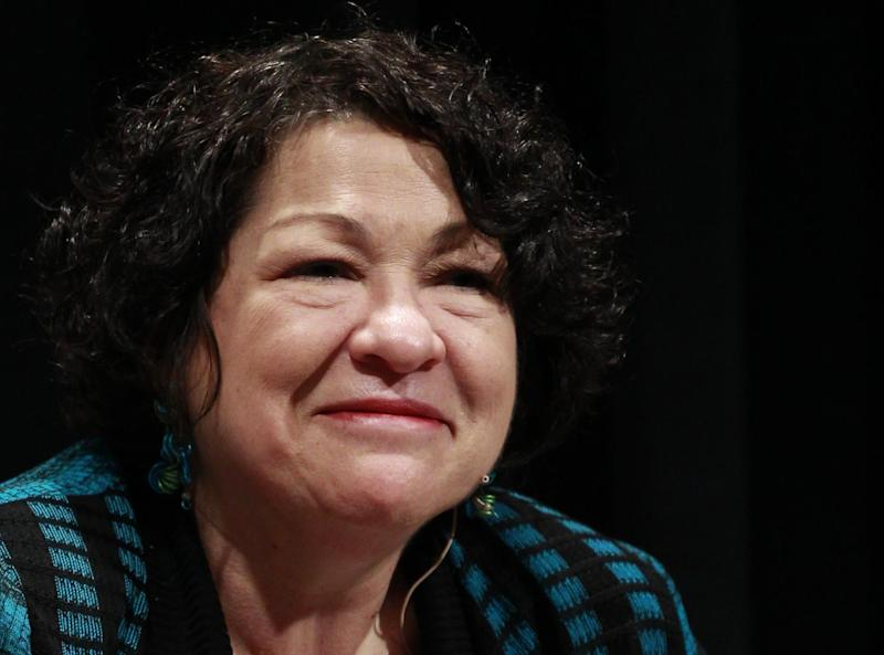 FILE - In this May 2, 2013 file photo, Supreme Court Justice Sonia Sotomayor is seen in Denver. Sotomayor has gotten more than $3 million in advance payments for her best-selling memoir from her publisher. The justice's annual financial disclosure forms were released Friday. (AP Photo/Brennan Linsley, File)