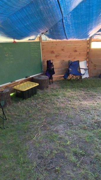 PHOTO: Lindsey Earle, a fourth grade teacher at Prairie Hill Waldorf School in Pewaukee, Wisconsin, built an outdoor structure for the 13 students in her class amid the novel coronavirus pandemic. (Lindsey Earle)