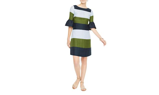 "<p>Fluted-Sleeve Striped Shift Dress, $149, <a href=""https://www.anntaylor.com/fluted-sleeve-striped-shift-dress/426811?skuId=23053816&defaultColor=4634&colorExplode=true&catid=cata000012"" rel=""nofollow noopener"" target=""_blank"" data-ylk=""slk:anntaylor.com"" class=""link rapid-noclick-resp"">anntaylor.com</a> </p>"