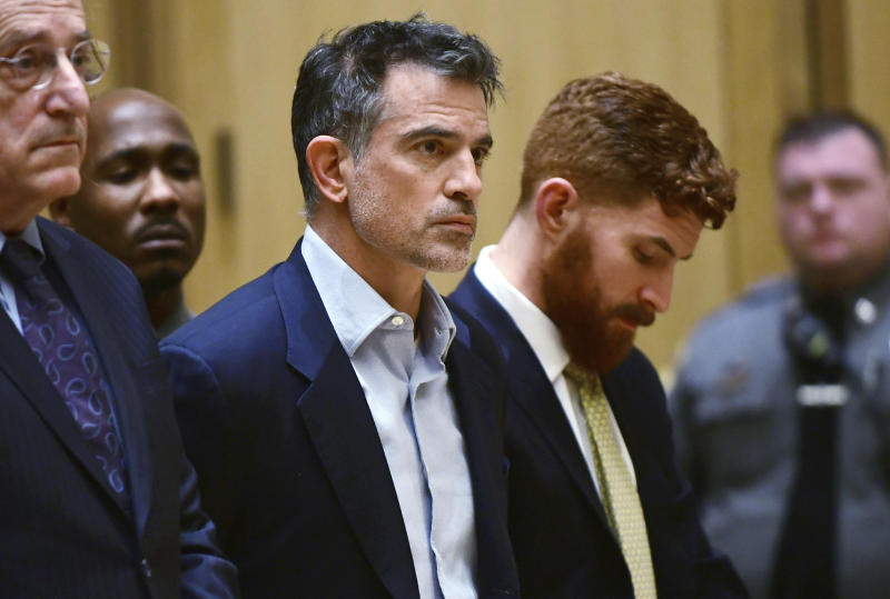 Fotis Dulos, the estranged husband of a missing mother of five, is arraigned on murder and kidnapping charges in Stamford Superior Court, Wednesday, Jan. 8, 2020, in Stamford, Conn. Dulos had been previously charged with evidence tampering in the disappearance of his wife, Jennifer Dulos. (Erik Trautmann/Hearst Connecticut Media via AP, Pool)