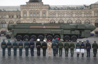 Russian RS-24 Yars ballistic missile rolls in Red Square during the Victory Day military parade in Moscow, Russia, Sunday, May 9, 2021, marking the 76th anniversary of the end of World War II in Europe. (AP Photo)