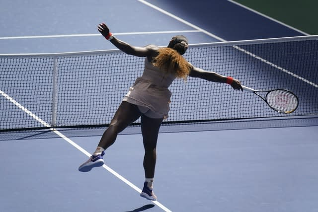 Serena Williams was stretched against Maria Sakkari but made it through to a 53rd grand slam quarter-final