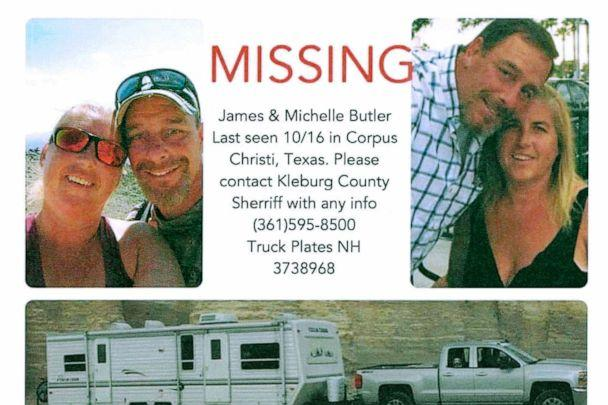 PHOTO: This poster released by the Kleberg County Sheriff's Office in Kingsville, Texas, shows James and Michelle Butler, of Rumney, N.H. (Kleberg County Sheriff's Office via AP)
