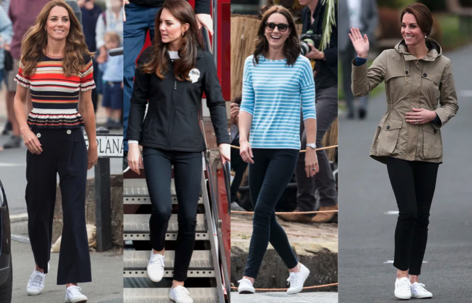 The Duchess of Cambridge is frequently spotted wearing Superga sneakers. (Getty Images)