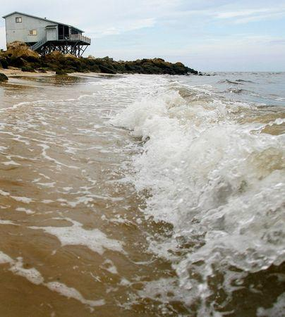 Waves crash onto the shore near a beach house on the Gulf Coast in Alligator Point, Florida, July 9, 2014. Picture taken July 9, 2014. REUTERS/Phil Sears