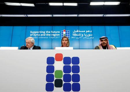 U.N. humanitarian chief O'Brien EU foreign policy chief Federica Mogherini and Kuwait's Foreign Minister Sabah Al Khalid Al Sabah take part in a news conference during an international conference on the future of Syria and the region in Brussels
