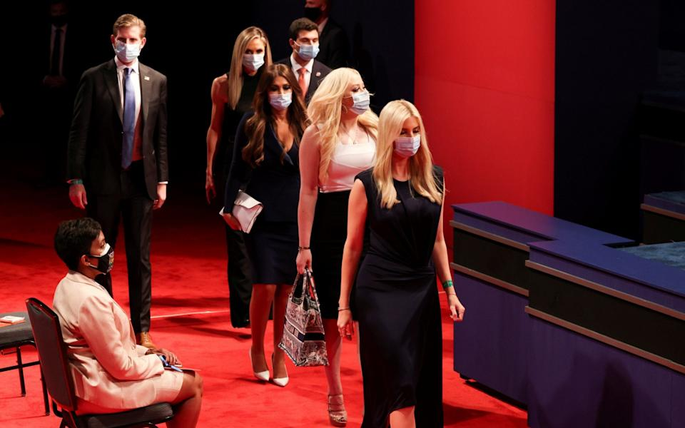 Members of the Trump family wear face masks as they arrive for the second 2020 presidential campaign debate between U.S. President Donald Trump and Democratic presidential nominee Joe Biden last night - REUTERS/Jonathan Ernst