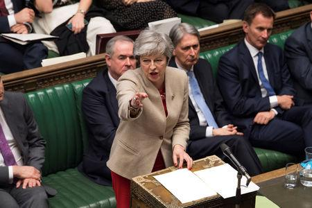 British Prime Minister Theresa May speaks at the House of Commons in London, Britain March 29, 2019. ©UK Parliament/Mark Duffy/Handout via REUTERS
