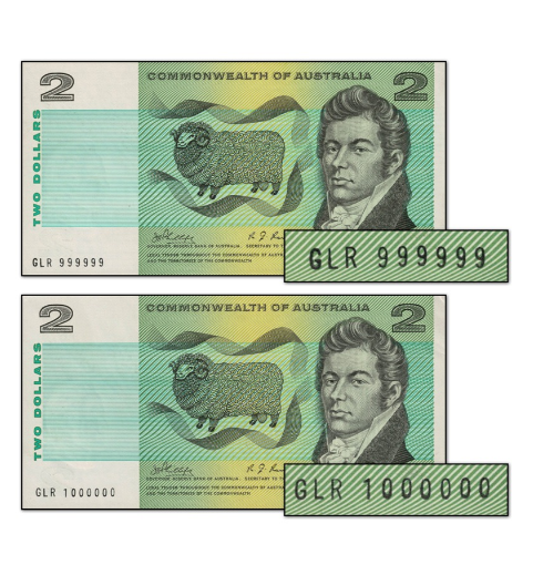 The $2 note from 1969 featuring the million serial number. Source: M.R Roberts Wynyard Coins.