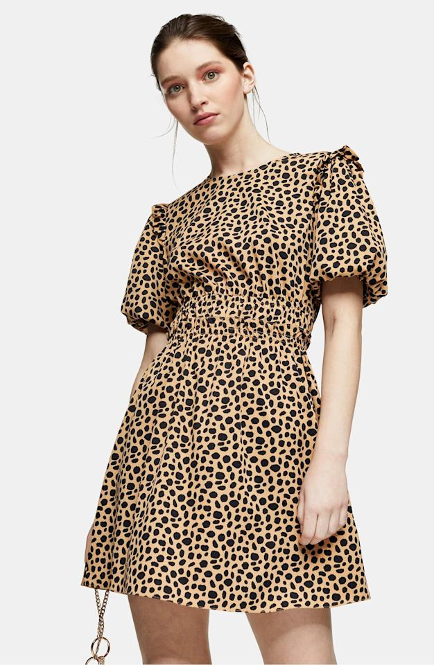 """<p>Our editors love this <product href=""""https://www.nordstrom.com/s/topshop-puff-sleeve-minidress/5712554?origin=category-personalizedsort&amp;breadcrumb=Home%2FWomen%2FClothing%2FDresses&amp;color=brown"""" target=""""_blank"""" class=""""ga-track"""" data-ga-category=""""Related"""" data-ga-label=""""https://www.nordstrom.com/s/topshop-puff-sleeve-minidress/5712554?origin=category-personalizedsort&amp;breadcrumb=Home%2FWomen%2FClothing%2FDresses&amp;color=brown"""" data-ga-action=""""In-Line Links"""">Topshop Puff-Sleeve Minidress</product> ($68).</p>"""