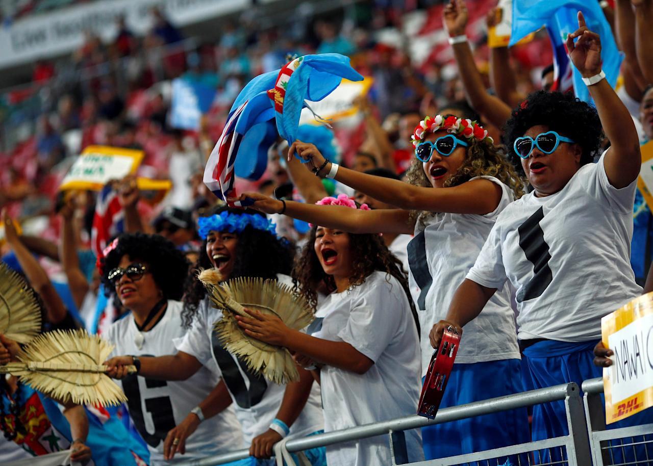 Rugby Union - Singapore Sevens - National Stadium, Singapore - 16/04/17 - Fiji's fans cheer in the stands. REUTERS/Edgar Su