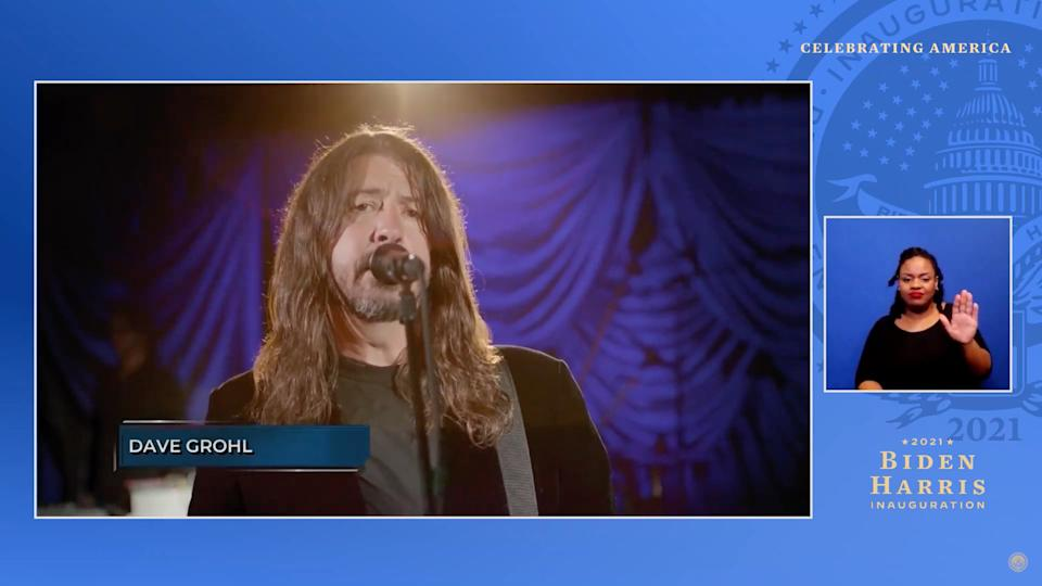 UNSPECIFIED - JANUARY 20: In this screengrab, Dave Grohl of Foo Fighters performs during the Celebrating America Primetime Special on January 20, 2021. The livestream event hosted by Tom Hanks features remarks by president-elect Joe Biden and vice president-elect Kamala Harris and performances representing diverse American talent.  (Photo by Handout/Biden Inaugural Committee via Getty Images )
