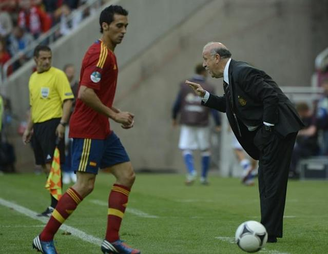 Spanish headcoach Vicente Del Bosque reacts during the Euro 2012 championships football match Spain vs Italy on June 10, 2012 at the Gdansk Arena. AFP PHOTO / PIERRE-PHILIPPE MARCOUPIERRE-PHILIPPE MARCOU/AFP/GettyImages