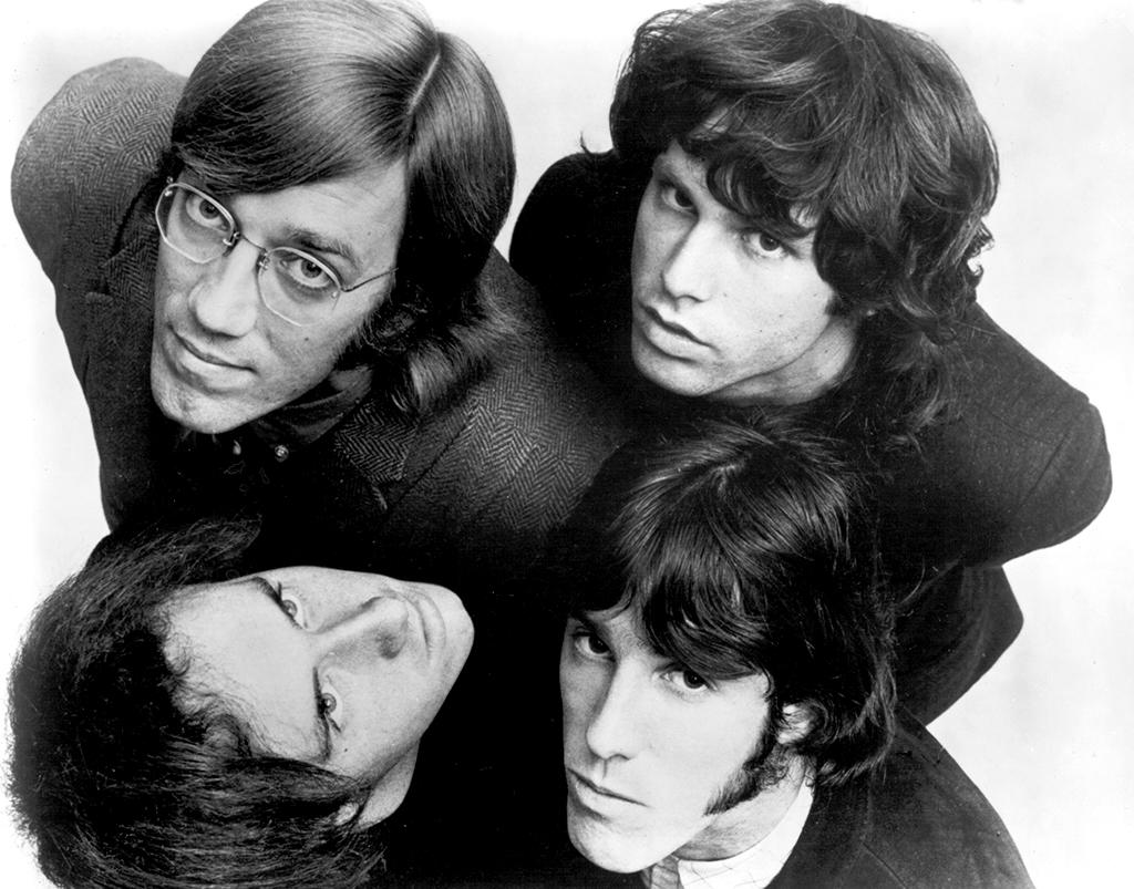 NEW YORK - CIRCA 1967:  Rock and Roll group The Doors clockwise from top left: Ray Manzarek, Jim Morrison, John Densmore and Robby Krieger) pose for an Electra Records publicity photo circa 1967 in New York City, New York.  (Photo by Michael Ochs Archives/Getty Images)