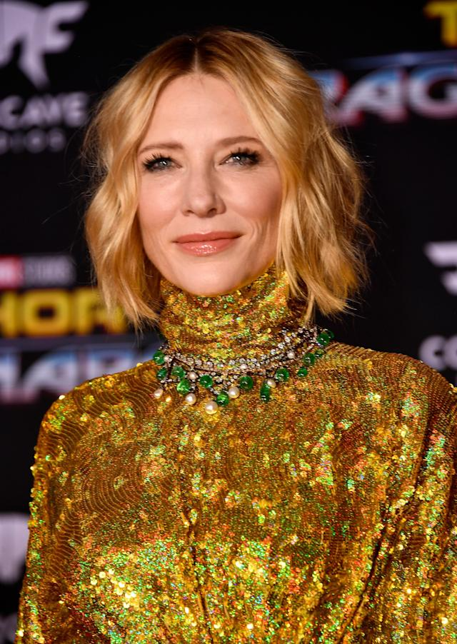 <p>Cate Blanchett attends the premiere of Disney and Marvel's <em>Thor: Ragnarok</em> on Oct. 10, in Los Angeles. (Photo: Getty Images) </p>