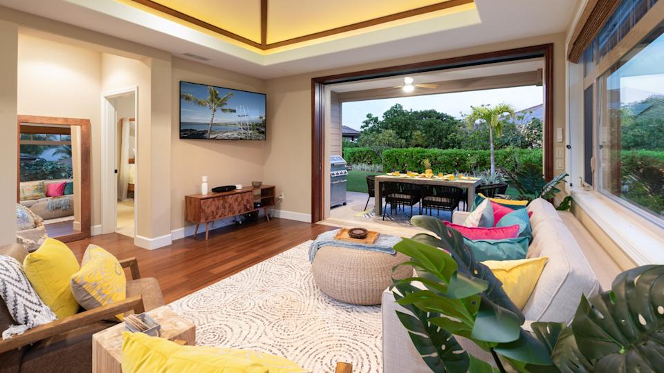 """This three-bedroom house inside the Big Island's gated KaMilo community is the best of both worlds. You have space to spread out across the bedrooms, large living areas, lanai, and backyard—as well as access to the community's shared lagoon pool, half-lap adult pool, and children's pool. Because it's within the Mauna Lani resort complex (home to the <a href=""""https://www.cntraveler.com/story/mauna-lani-auberge-resorts-collection-first-in?mbid=synd_yahoo_rss"""" rel=""""nofollow noopener"""" target=""""_blank"""" data-ylk=""""slk:Mauna Lani, Auberge Resorts Collection"""" class=""""link rapid-noclick-resp"""">Mauna Lani, Auberge Resorts Collection</a>), you'll have access to resort amenities too, like the private beach club, golf courses, and more. Plus, the hosts give you access to bikes and tons of beach gear to make your stay easier, whether you're heading to the local beach or driving to the stunning nearby Mauna Kea or Waialea beaches. <em>(From 69,000 points per night)</em> $415, Marriott. <a href=""""https://homes-and-villas.marriott.com/en/properties/78110950-kamuela-heavenly-3br-kamilo-home-closest-to-pool-complex"""" rel=""""nofollow noopener"""" target=""""_blank"""" data-ylk=""""slk:Get it now!"""" class=""""link rapid-noclick-resp"""">Get it now!</a>"""
