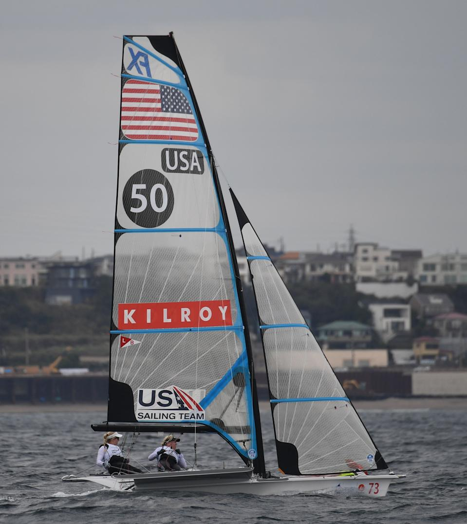 Stephanie Roble and Margaret Shea compete in round one of the 49er FX class women's yacht race during the sailing World Cup series, a test event of the Tokyo 2020 Olympic Games, in the waters off Enoshima island on September 12, 2018. (Photo by Toshifumi KITAMURA / AFP)        (Photo credit should read TOSHIFUMI KITAMURA/AFP via Getty Images)