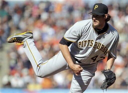Pittsburgh Pirates' Joel Hanrahan works against the San Francisco Giants during the ninth inning of a baseball game Sunday, April 15, 2012, in San Francisco. The Pirates won 4-1. (AP Photo/Ben Margot)