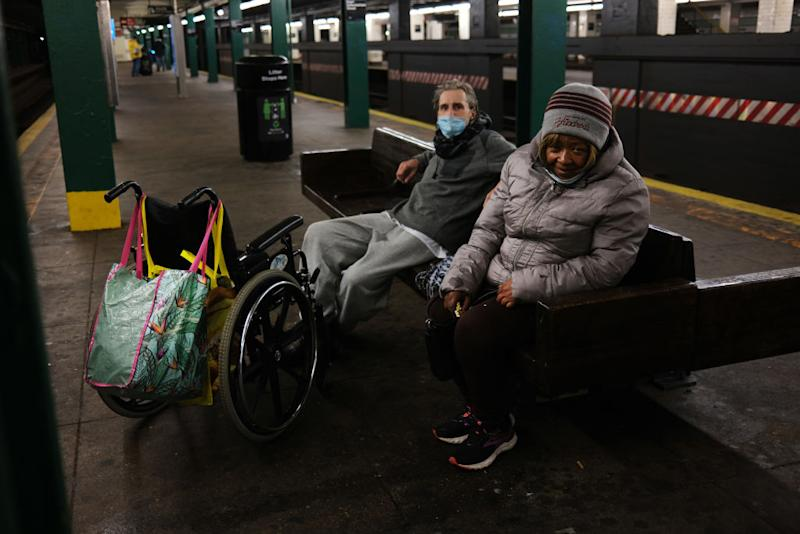 Homeless individuals take shelter at a subway station during the Coronavirus outbreak on April 13, 2020 in New York City. Source: Getty