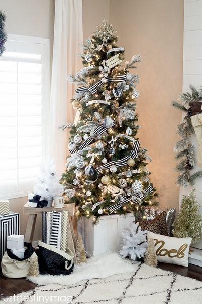 "<p>Red and green might be the de facto colors of the season, but simple black and white, with neutral sleigh ornaments, make a chic statement on this boldly bedecked tree by <a href=""http://justdestinymag.com/"" rel=""nofollow noopener"" target=""_blank"" data-ylk=""slk:Just Destiny Mag"" class=""link rapid-noclick-resp"">Just Destiny Mag</a>.</p>"
