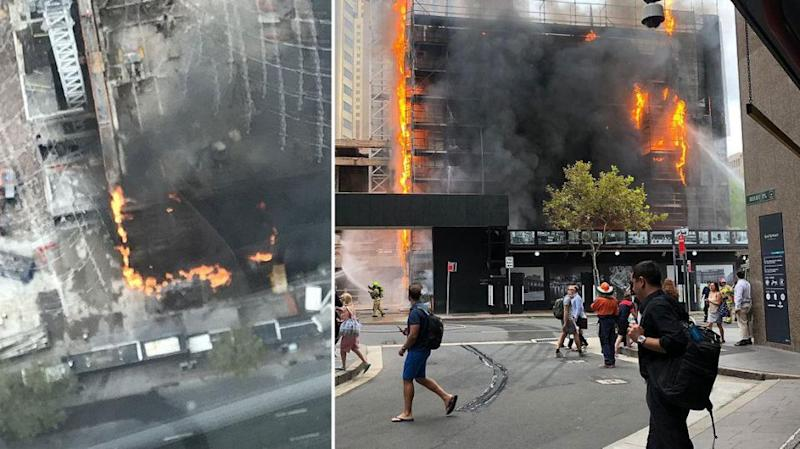 Toxic plumes of smoke swept across Sydney on Tuesday morning as an inferno engulfed a construction site in the heart of the CBD.