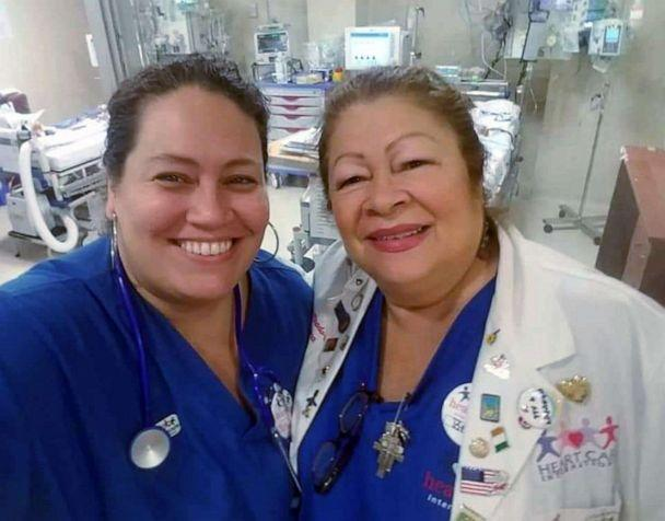 PHOTO: Betsy Arlene Tirado, a pediatric cardiac ICU nurse manager, says she hasn't seen such a major shift in processes in health care since the HIV/AIDS pandemic, when her mom, right, also named Betsy Tirado, worked as a nurse. (Courtesy Betsy Tirado)