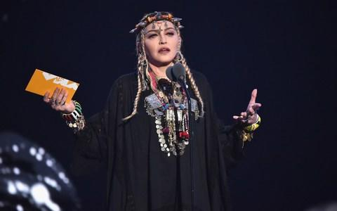 Madonna, as seen during her rambling Aretha Franklin speech at last night's MTV Video Music Awards - Credit: Kevin Mazur/WireImage